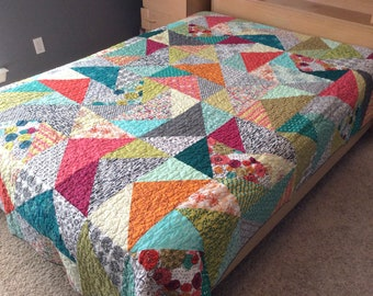 Queen Sized Quilt, Queen Quilt, Modern Quilt, Bed Blanket, White, Black, Teal, Lime Green, Queen Bedding