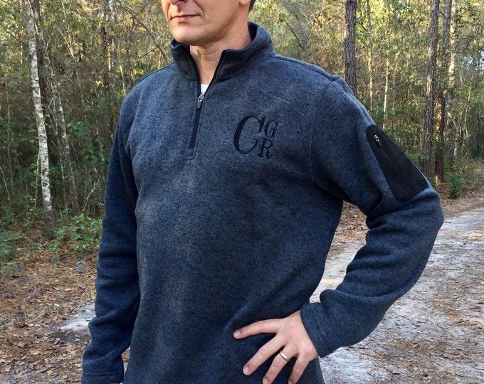 Men's Monogrammed Quarter Zip Sweater - Charles River Apparel - Monogram Quarter Zip Sweater - Heathered Fleece Pullover