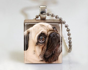 Pug Dog Puppy - Scrabble Tile Pendant - Free Ball Chain Necklace or Key Ring