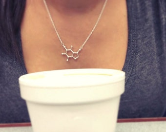 Caffeine Molecule Necklace, Molecule Necklace, Caffeine Molecule, Boho Necklace, Minimal Necklace
