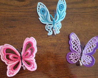 Set of 3 Butterflies, Embroidered Lace butterflies, Butterfly Clips, Butterfly Hair Clips, Free Standing Lace Butterfly, FSL Butterfly