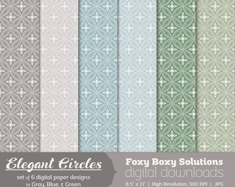 Elegant Circles: Dotted Line Circle Patterns, Digital Papers, set of 6 in Gray, Blue, and Green Instant Download Printable Scrapbook Paper