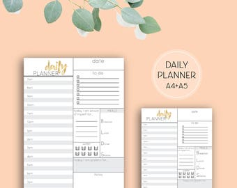 Grey & Gold Printable Daily Planner page, A4 digital download