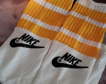 """Vintage Deadstock 80's 19"""" Nylon Acrylic Nike Swoosh Themed Striped Over the Calf Skater Socks Trendy Summer Wear"""
