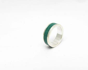 Sterling Silver Ring, Green Wedding Band, Wedding Ring, Contemporary, Modern, Minimal