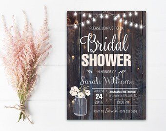Rustic Bridal Shower Invitation Printable, Country Bridal Shower Invitation, Mason Jar Bridal Shower Invite, rustic wedding shower invite