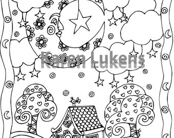Man On The Moon, 1 Adult Coloring Book Page, Printable Instant Download