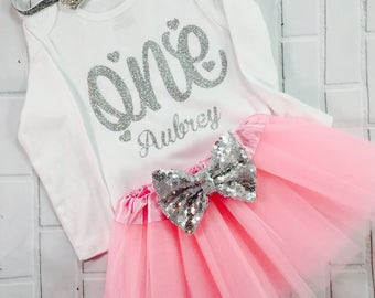 Personalized 1st birthday outfit Silver One Birthday dress outfit 1st birthday Baby girl first birthday outfit shirt ANY NAME