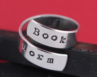 Book Worm Ring - Wrap Ring - Twist Ring - Book Lover - Christmas Gift for Reader - Silver Ring - Stocking Stuffer - Book Ring - Bookworm