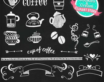 Chalkboard Coffee Clipart Set, Cup, Coffee Beans, Pot Clip Art, chalkboard tea clip art with chalkboard background, Instant Download