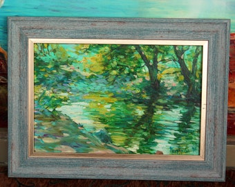 By the lake. Original Oil paintings on Canvas