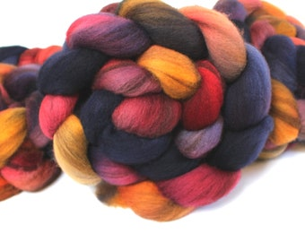 4oz BFL Mixed Blue Faced Leicester 'Harvest Moon' Combed Top Roving Dyed Wool Spinning Fiber Indie