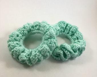 Comfy Crochet Hair Scrunchie - Seafoam Green