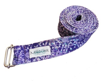 Lacy Bloom Yoga Belt Strap (fair-trade), 100% Cotton, Extra Long, Blue, Purple