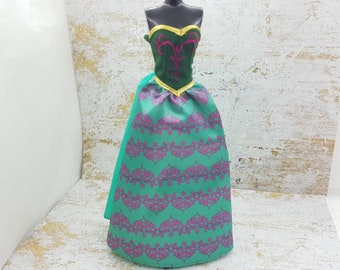 Barbie Strapless Green and Purple Gown  fashions Outfit 11 inch doll