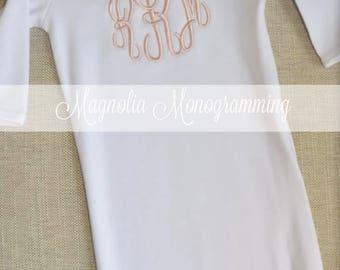 Girls Monogrammed Newborn Baby Gown, Girl Newborn Gown, Newborn Hospital Gown, Girls Newborn Baby Gown, Newborn Baby Monogram Gown