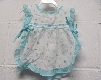 Adorable Vintage Baby Girl Blue and White Floral Apron Top Shirt Summer Tank Tunic SO Cute
