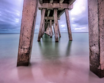 HDR Photograph Under a Pier Smooth Water Stormy Sky Navarre Pier Fine Art Print