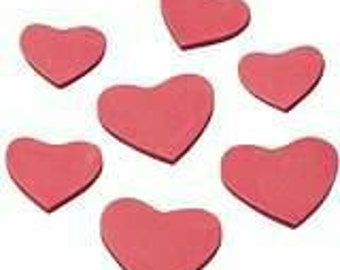 Foam rubber hearts in red, suitable adhesive for great decoration