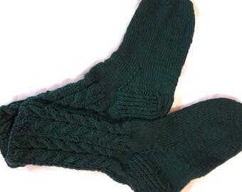 Hand knitted socks Handmade socks Wool socks Warm socks Socks for women Socks for men Dark green socks