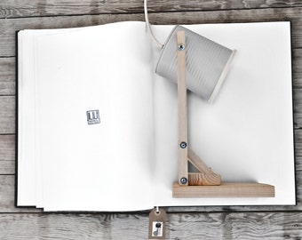 Desk lamp - nightstand lamp - table lamp,light grey color... eco friendly: recycled from tomato can ! Euro or US or UK or Australian plug !