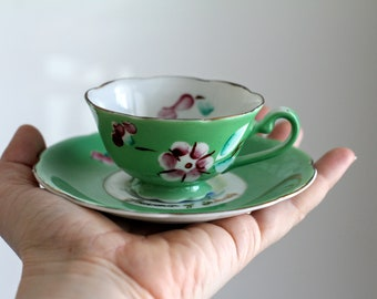 Green Souvenir of Florida Teacup and Saucer, Made in Occupied Japan