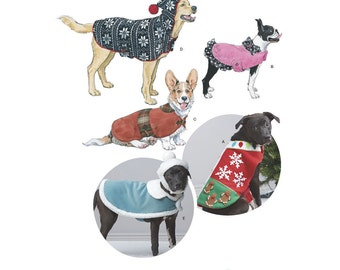 DOG COAT PATTERN / Christmas Coat - Coat and Pom Pom Hat - Coat With Hood / Small - Medium -Large