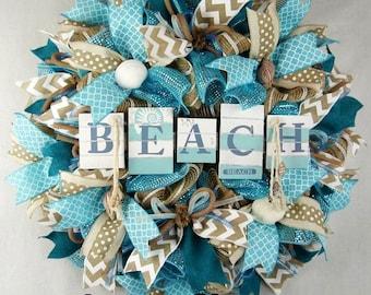 Beach Mesh Wreath, Summer Wreath, Summer Decor, Beach Decor, Seashells