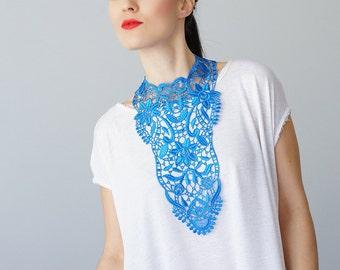 Blue Necklace Venise Lace Necklace Lace Jewelry Bib Necklace Statement Necklace Body Jewelry GiftCustom/ ERCOLA