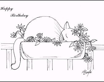 SET of COLORING CAT Cards; pen and ink original drawings,coloring birthday cards, adult & children coloring, original art,