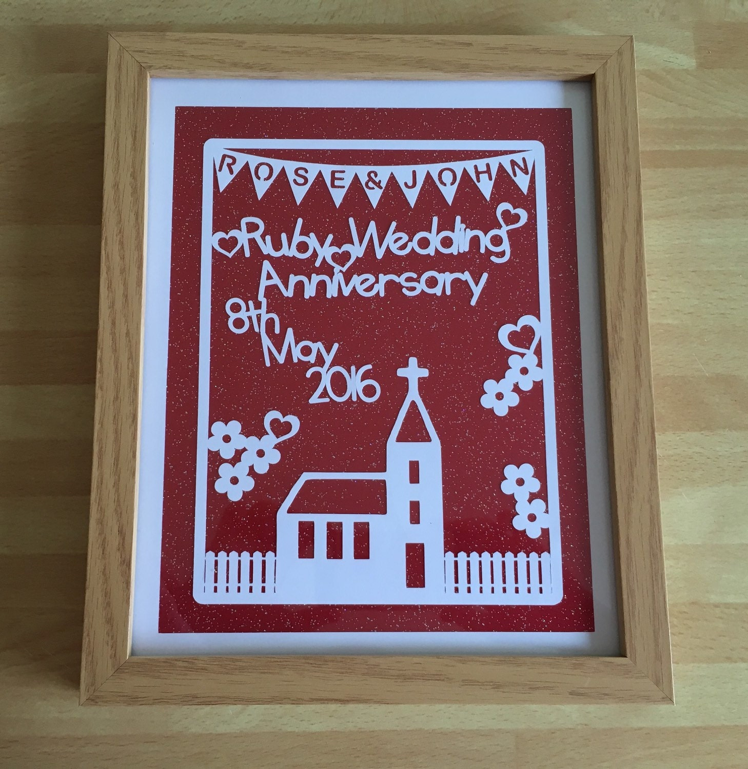 Personalized Ruby Wedding Anniversary Paper Cut Gift Framed