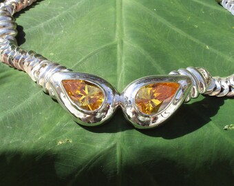 Vintage Heavy Solid Sterling Silver Necklace with Huge Citrine CZ
