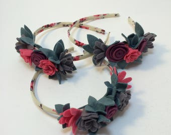 Pink purple grey felt floral hairband headband hair accessory little girl bridesmaid party fashion