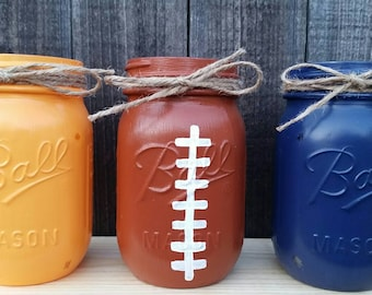 Distressed Mason Jars, Chicago Bears Decor, Football Mason Jars, Football Party Decor, Birthday Party Decor, Fathers Day, Gift For Him,