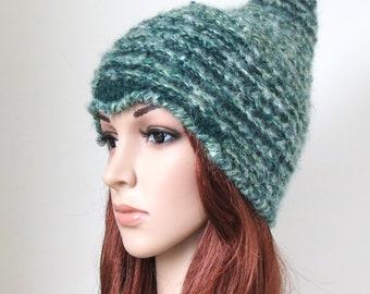 Women's Elf Hat, Green Alpaca Beanie, Woodland Fairy Pointy Cap, Teen Girl Pixie Hat