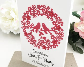 Wedding Congratulations Card, Red Wedding Card, Newlyweds Gift, Love Birds, Unique Wedding Gift, Personalised Wedding Gift Ideas, Floral