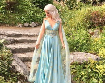 Game of  Thrones Daenerys Qarth Dress - Blue with Belt and Cape - Khaleesi Gown Fantasy Cosplay