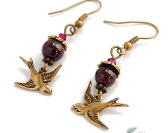 """Earrings """"Hirondelle""""  / BIrd Doves Nature/  Garnet or Moonstone / Style Fantasy chic - Gemstones / Color Silver or Gold"""