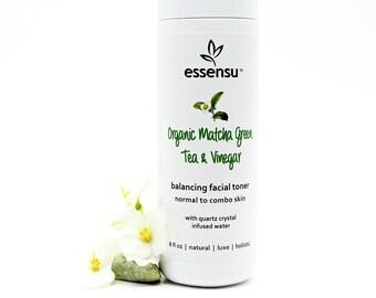 Organic Matcha Green Tea and Vinegar Herbal Facial Toner | Normal to Combo Skin | Balancing Formula | All Natural | Vegan , No Gluten - 8 oz