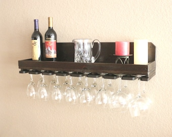 "32"" Rustic Wood Wine Rack Shelf & Hanging Stemware Glass Holder Bar Storage Organizer"