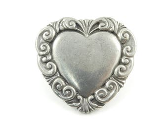Vintage Pewter Heart Brooch, Signed, Seagull Pewter 1988