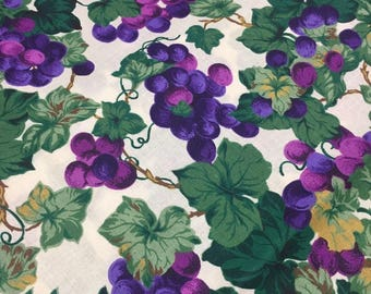 Retired Concord Grapes Leaves Cotton Fabric Joan Messmore  2 Yds