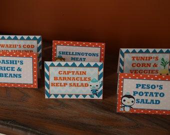 Octonauts Themed - Food Tent Cards - Disney Jr - (Barnacles, Kwazii, Peso, Tweak, Shellington, Dashi, Prof Inkling, Tunip)