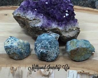 Blue Apatite Pendant, Apatite Pendant, Rough Blue Apatite Pendant, Raw Blue Apatite Pendant, One of A Kind, Silver Plated Bail, PS3313