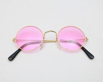 "Vintage ""REGIS"" JOHN LENNON Style Round Sunglasses with Colored Lenses"