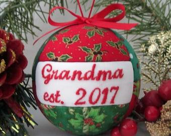 Grandma 2017 Our First Christmas as Grandparent Ornament Personalized Ornament Grandparent Gift First Grandchild, Pregnancy Announcement