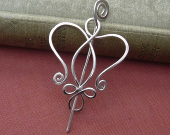 Celtic Angel Heart Little Sterling Silver Shawl Pin, Scarf Pin, Sweater Brooch, Knitter Gift for Her Mother's Day Mom Women, Angel Jewelry
