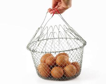 Vintage Wire Basket, Wire Kitchen Basket, Collapsible Egg Basket, Metal Mesh Basket with Handles, Modern Farmhouse Decor