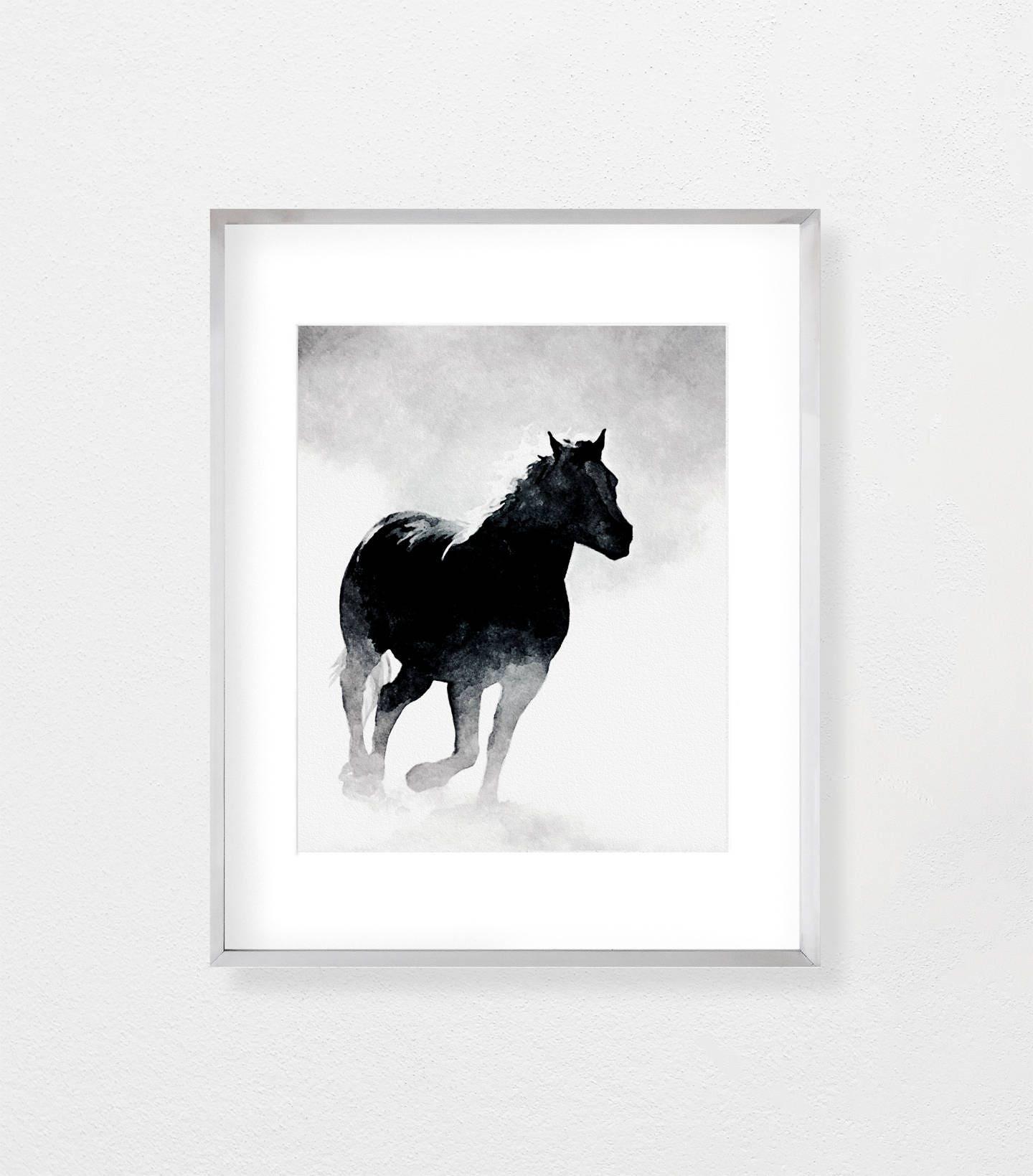 Horse print horse wall art black and white art black white zoom jeuxipadfo Gallery