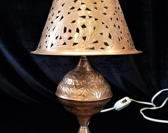 Vintage Copper Lamp, Moroccan Bed Table Lamp, Pierced Copper, Cut Work Lamp Shade, Etched, Embossed, Coffee Table Light, Boho Chic Decor